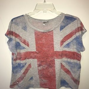 Urban Outfitters Sparkle & Fade British Flag Crop